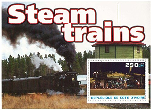 Trains and Steam Engines mint and unmounted stamp sheetlet for Collectors / fv 200UM / Ivory Coast / 2003 (Train Stamps Mint)