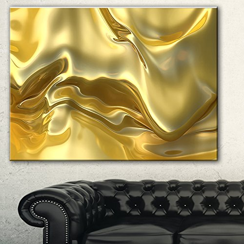 Golden Cloth Texture Abstract Digital Art canvas Print,Yellow,