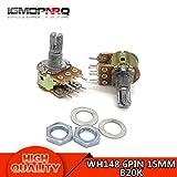 Isali Electronic - 5pcs WH148 6PIN B20K Dual Stereo Potentiometer 20K Ohm Shaft 15mm Pot 20K Ohm R