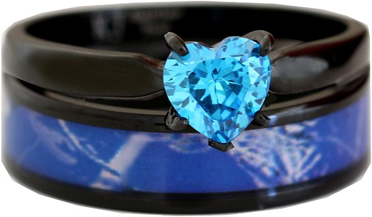Amazon Com Black Plated Blue Camo Wedding Ring Set Womens