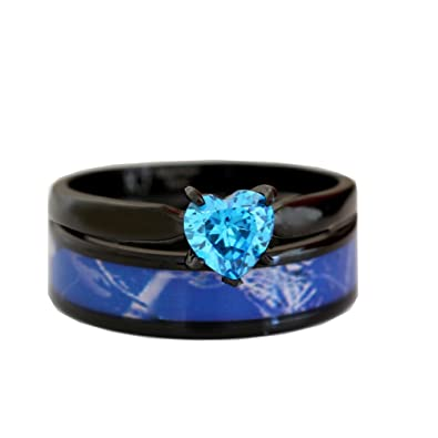 black plated blue camo wedding ring set blue heart engagement rings hypoallergenic titanium and stainless steel - Camo Wedding Rings Sets