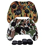 Cheap Hikfly Silicone Gel Controller Cover Skin Protector Kits for Xbox One Controller Video Games(2x Controller Camouflage cover with 8 x Thumb Grip Caps)(Brown, White)