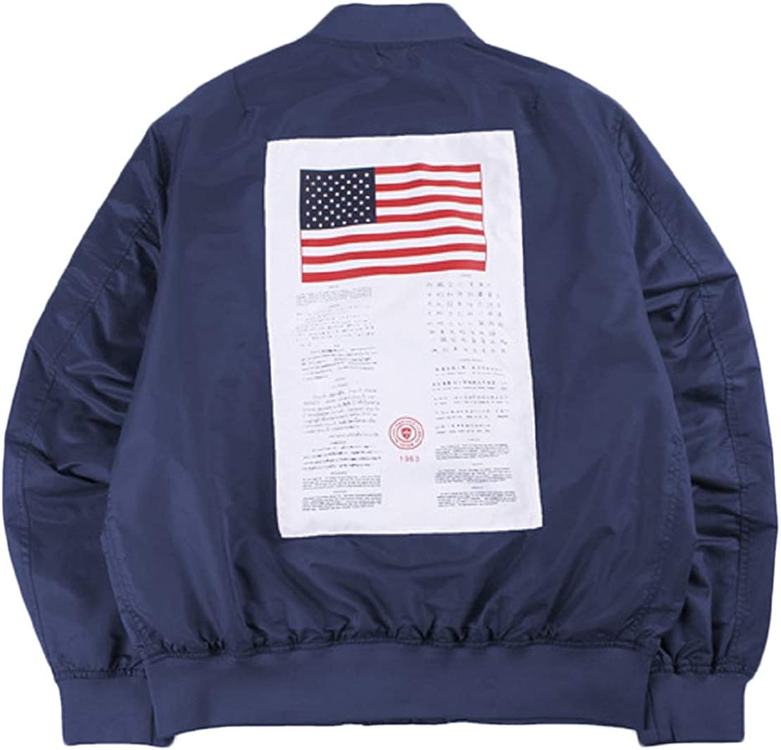 CORIRESHA Mens Apollo NASA Patches Slim Fit Bomber Jackets Windbreaker