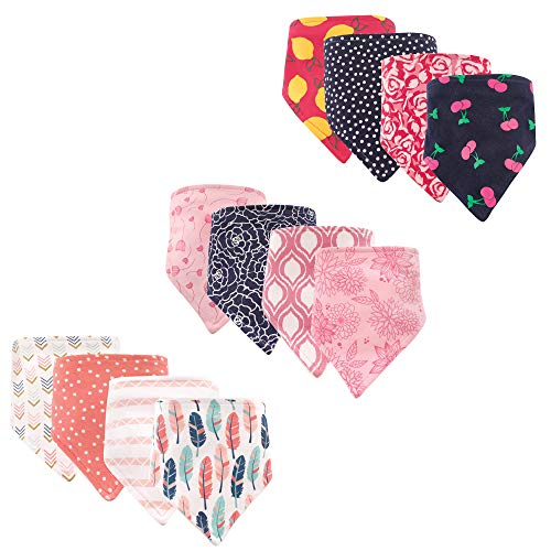 Hudson Baby Unisex Baby Cotton Bandana Bibs, Girl Feathers Floral Cherry 12-Pack, One Size