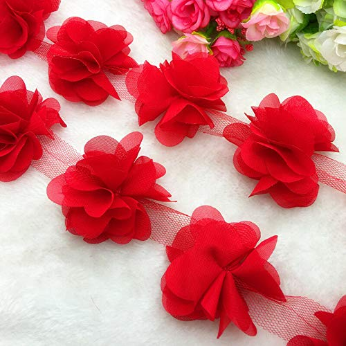 (MOPOLIS 13pcs/1 Yard Flower Chiffon Wedding Dress Bridal Fabric Lace Trim | Pick item - FD-25)