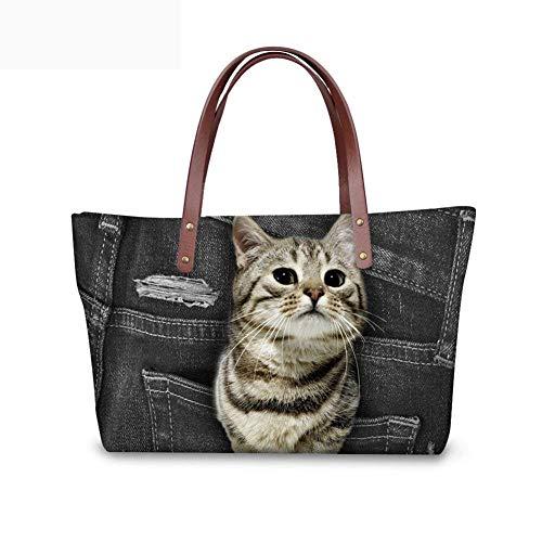 with Tote for Cute Bag Zipper Yorkie Showudesigns Women Brands Closures Handbags Cat fwOFAq