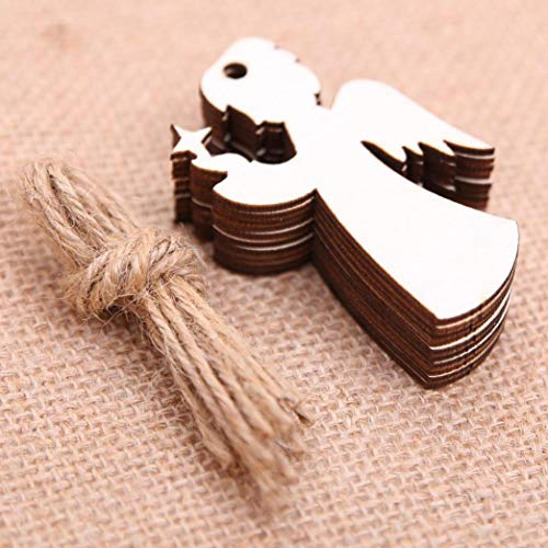 (Iusun Christmas Ornaments, 10 Pieces Mini Personalized DIY Wooden Pendant Ornaments for Christmas Tree Party Decorations (E))