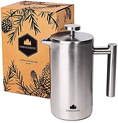 Groenenberg Cafetera francesa 1 litro (5 tazas) | Cafetera émbolo ...