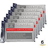 """Vertex Essentials Emergency Blanket (6-Pack), Silver 52"""" x 82"""". Designed for NASA with up to 90% Heat Retention. Waterproof, Mylar Thermal Blankets for Backpacking, First Aid Kit, Bug Out Bag"""