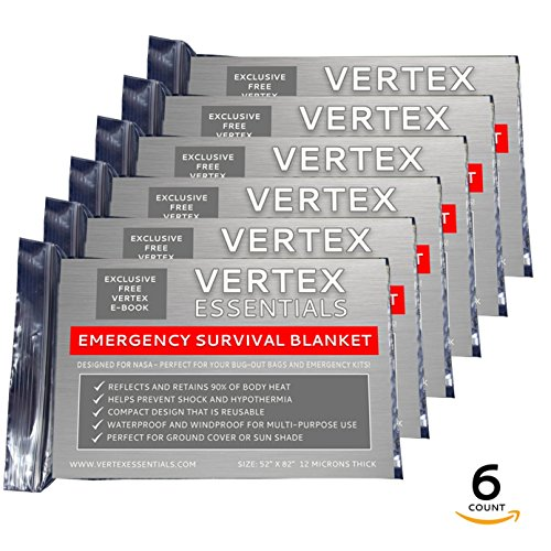 Vertex Essentials Emergency Blanket (6-Pack), Silver 52 x 82. Designed for NASA with up to 90% Heat Retention. Waterproof, Mylar Thermal Blankets for Backpacking, First Aid Kit, Bug Out Bag