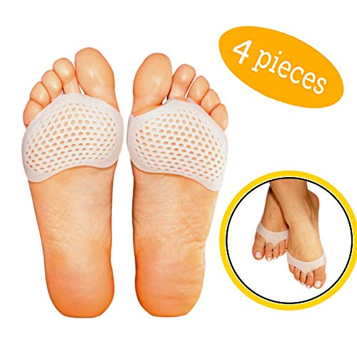 [Improved] Breathable Metatarsal Foot Pads-Ball of Foot Cushions, Forefoot Blister Prevention, Callus Prevention, Foot Support and Foot Pain Relief, 4 Pieces Pedi Soother Solutions Ventilated Gel Pads