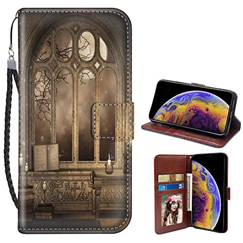 (Gothic Library iPhone X 10 Xs Wallet Case PU Leather Cover and TPU Protective Phone case with Card Holder Magnetic Folio Flip iPhone X 10 Xs Case Wallet)