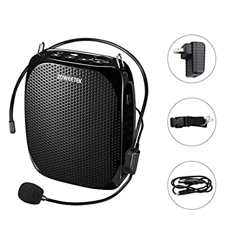 Zoweetek Portable Rechargeable Mini Voice Amplifier With Wired Microphone and Waistband, Supports MP3 Format Audio for Teachers, Singing, Coaches, Training, - Pa System Package