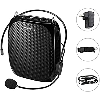 Zoweetek Portable Rechargeable Mini Voice Amplifier With Wired Microphone and Waistband, Supports MP3 Format Audio for Teachers, Singing, Coaches, Training, Presentation