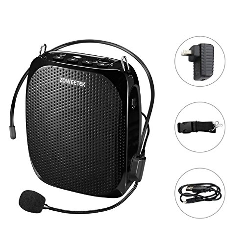 Zoweetek Portable Rechargeable Mini Voice Amplifier With Wired Microphone Headset and Waistband, Supports MP3 Format Audio for Teachers, Singing, Coaches, Training, Presentation, Tour ()