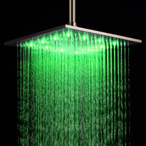 nless Steel Rainfall Shower Head 12 Inch Bathroom Square LED Shower Head Fixed Wall Mount Shower Head Without Shower Arm Waterflow Powered No Battery Needed Shower Head Cheap Discount Clawfoot Unique Designer Plumbing Fixtures ()