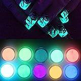 NICOLE DIARY 10 Neon Colors Luminescent Fluorescent Powder Glow In Dark Phosphorescent Nail Decorations Nail Art Acrylic Use DIY Kit