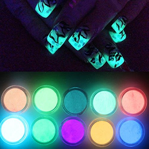 NICOLE DIARY 10 Neon Colors Luminescent Fluorescent Powder Glow In Dark Phosphorescent Nail Decorations Nail Art Acrylic Use DIY Kit by NICOLE DIARY
