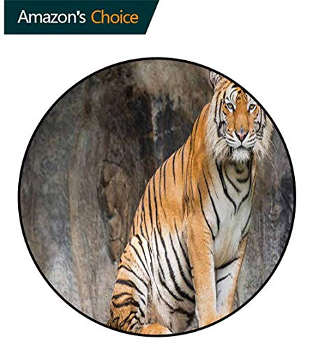 (Zoo Luxury Round Area Rugs,Bengal Tiger Feline Predator Aggressive Hunter Carnivore Africa Safari Super Soft Living Room Bedroom Carpet Woman Yoga Mat Round-24 Inch,Pale Brown Black White)