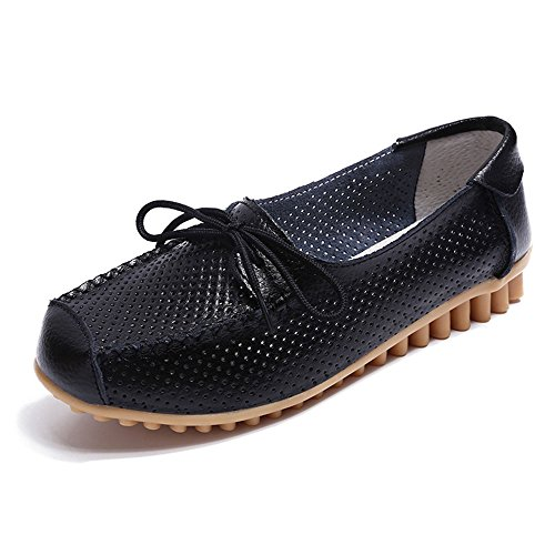 Aged Shoes Aged Mouth Flat and Old Yangjiaxuan Shoes Leather Mother's Middle Shallow Soled Hollow Soft Black S6HqccPI7R