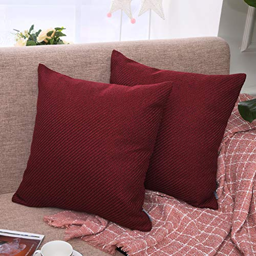 (Yinnazi Square Denim Decorative Throw Pillow Covers High Class Soft Faux Burlap Cushion Case for Couch, 18 Inch, Set of 2, Many Color (red))
