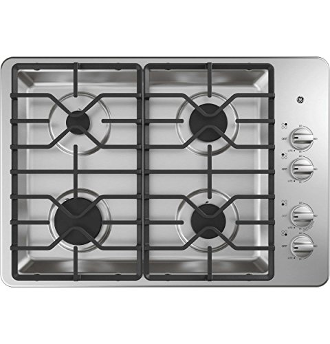 GE JGP3030SLSS 30 Inch Gas Cooktop with MAX System, Power Broil, Simmer, Continuous Grates, Sealed Burners and ADA...