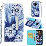 Case for Galaxy S9,Flip Slim 3D Printing PU Leather Kickstand Card Slots Wallet Case with Wrist Strap & Magnetic Closure Inner Soft Shockproof Bumper Compatible with Samsung Galaxy S9 -Bead Flower