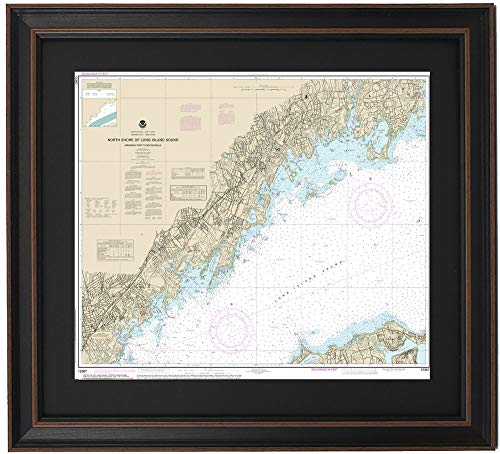 Patriot Gear Company | Framed Nautical Map 12367 : North Shore of Long Island Sound; Greenwich Point to New Rochelle- Standard Size
