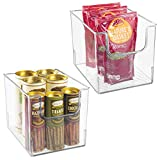 mDesign Plastic Open Front Food Storage Bin for Kitchen Cabinet, Pantry, Shelf, Fridge/Freezer - Organizer for Fruit, Potatoes, Onions, Drinks, Snacks, Pasta - 8' Wide, 2 Pack - Clear