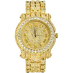 Mens Hip Hop Luxury Iced Out Techno Pave Watch Gold Tone Heavy Bezel Case Band Simulated Diamond 7341 GG