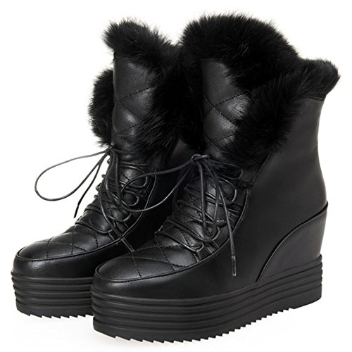 Lined Women Heel Black Hidden COOLCEPT Boots Warm 6TvRqR