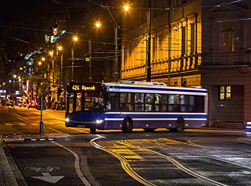 Home Comforts Peel-n-Stick Poster of Bus Krak??w Urbino Poland Night Solaris City Vivid Imagery Poster 24 x 16 Adhesive Sticker Poster Print