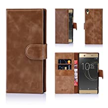 32nd Premium Leather Wallet Case for Sony Xperia XA1 Ultra, Book Style Opening Luxury Italian Leather Flip Cover With Card Slots and Magnetic Closure - Chestnut
