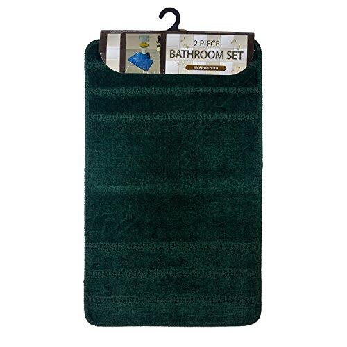 Jimmy Shadow 2 Piece Bathroom Mat Set Madrid Collection Dark Green