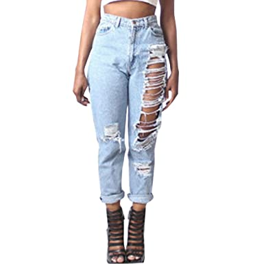 617ea7465ba72 LIYT-TOPSHOP Women's Fashion Baggy Ripped Hole Jeans Ninth Pants at ...