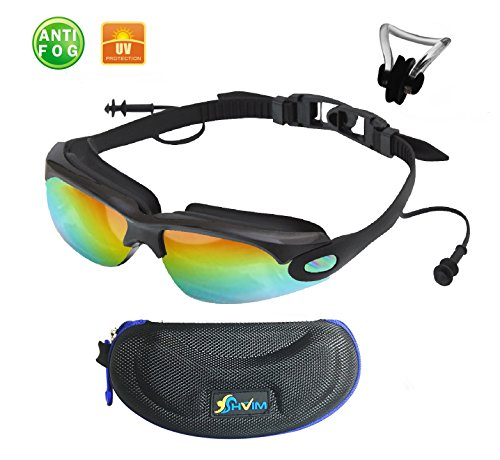Anti Fog Swim Goggles with Connected Ear Plug - Mirrored Glass - High Quality Material - Bundle with Extra Bonus Gift Nose Clip and Protector (Any Plug)