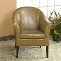 Armen Living LCMC001CLCA 1404 Accent Chair in Camel and Black Wood Finish