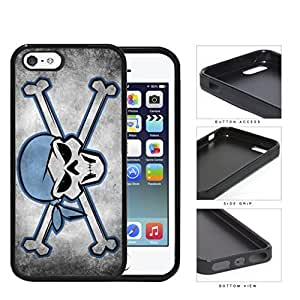 Blue Pirate Skull And Bones Grunge Rubber Silicone TPU Cell Phone Case Apple iPhone 5 5s