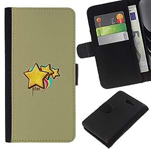 Planetar® Modelo colorido cuero carpeta tirón caso cubierta piel Holster Funda protección Para Sony Xperia M2 / M2 dual ( Cute Stars & Rainbow )