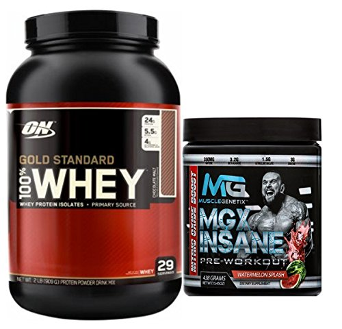Gold Standard 100% Whey Protein, 5lb, Extreme Milk Chocolate + MGX Insane Pre-Workout Energy & Endurances booster, 438 Grams Watermelon by Optimum Nutrition/MuscleGenetix