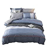 Nokolulu Bedding Color Block Striped Print Duvet Cover Set with Hidden Zipper Closure Soft Breathable Durable(1 Duvet Cover + 1 Pillow Shams)(Twin Blue)