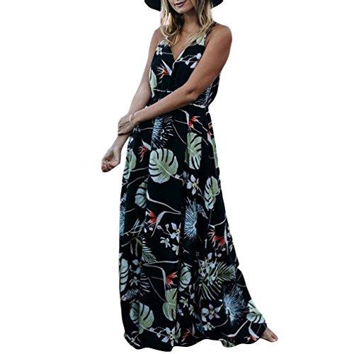 TianBin Col Bretelle Haute Longue la en Femme Plage t Toute V Imprime de Taille Maxi Robe Noir Bohme Longueur X6wrXaqnv