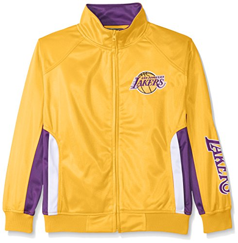 BA Los Angeles Lakers Tricot Track Jacket with Logo WordMark, Small, Gold (Lakers Jackets)
