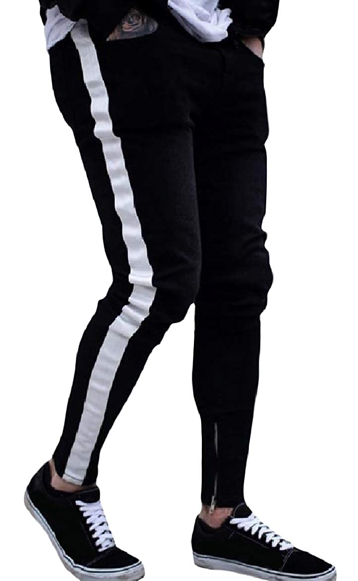 Abetteric Men Slim Elastic Waist Plus-Size Stripe Pockets Splice Denim Jeans