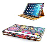 Apple iPad Mini / iPad Mini 2 Jelly Fish & Tan Floral Leather Stand Case Cover with Magnetic Sleep Wake Sensor + Free Screen Protector