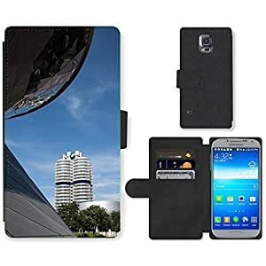 Hot Style Cell Phone Card Slot PU Leather Wallet Case // M00169411 Bmw World Bmw Tower Munich // Samsung Galaxy S5 S V SV i9600 (Not Fits S5 ACTIVE)