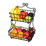 Linkfu 2 Tier Fruit/Bread Basket Removable Screwless Metal Basket Rack for Kitchen Counter -Black