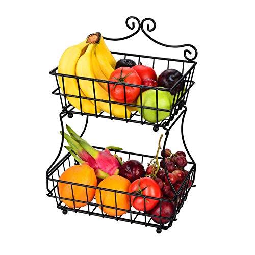 Linkfu 2 Tier Fruit/Bread Basket Removable Screwless Metal Basket Rack for Kitchen Counter -Black by Linkfu