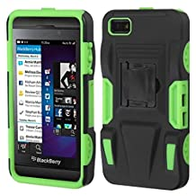 MYBAT ABB10HPCSAAS807NP Advanced Rugged Armor Hybrid Combo Case with Kickstand for BlackBerry Z10, Retail Packaging, Black/Electric Green