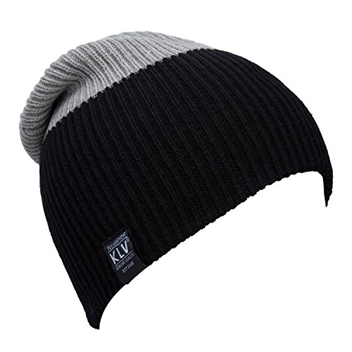 YCHY Unisex Striped Knit Hat Winter Beanie Cap Sport Long Warm Hat (black&light grey) - Black Cat Costume Target